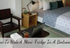 how to hide a mini fridge in a bedroom